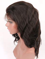 Ženy Paruky z přírodních vlasů Přírodní vlasy Se síťovanou přední částí Krajka vpředu 130% 150% Hustota Vlnité Paruka Černá Krátký