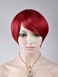 cheap -Synthetic Wig Straight Bob Haircut / With Bangs Synthetic Hair Red Wig Women's Short Capless