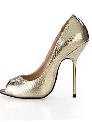 cheap -Women's Heels Summer Comfort PU Wedding Party & Evening Dress Stiletto Heel Black Silver Gold