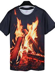 economico -T-shirt Da uomo Per uscire Casual Taglie forti Semplice Estate,Con stampe Rotonda Cotone Poliestere Nero Manica corta Opaco