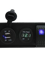 DC 12V/24V 3.1A USB port Sockets and voltmeter with rocker switch jumper wires and housing holder