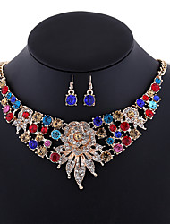 Women's AAA Cubic Zirconia Luxury Statement Jewelry Fashion European Daily Imitation Diamond Alloy Cross 1 Necklace 1 Pair of Earrings
