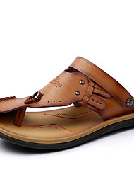 cheap -Men's Shoes Cowhide Spring / Summer / Fall Comfort Sandals Water Shoes Dark Blue / Light Brown