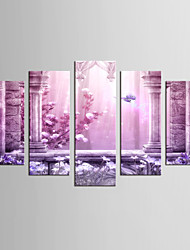 Canvas Set Landscape Floral/Botanical Classic European Style,Five Panels Canvas Any Shape Print Wall Decor For Home Decoration