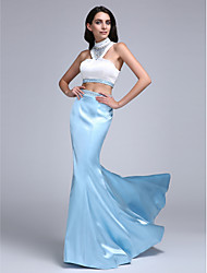 Mermaid / Trumpet High Neck Sweep / Brush Train Stretch Satin Prom Formal Evening Dress with Beading by TS Couture®