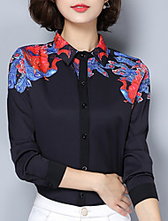cheap -Women's Going out Vintage Sophisticated Spring Shirt,Print Shirt Collar Long Sleeves Polyester Medium