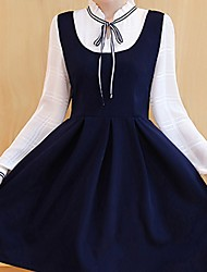 Women's Going out Casual/Daily Holiday Cute Street chic Sophisticated Swing Dress,Solid V Neck Above Knee Long Sleeve Others BlueSpring