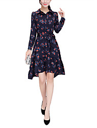 Women's Daily Going out Holiday Vintage Street chic Sophisticated Loose Sheath Dress,Floral Shirt Collar Asymmetrical Long Sleeves