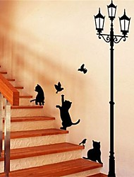 1Pcs Popular Ancient Lamp Cats And Birds Wall Sticker Wall Mural Home Decor Room Kids Decals Wallpaper
