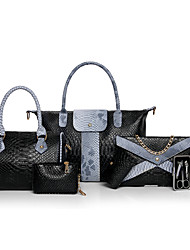 cheap -Women's Bags Other Leather Type Bag Set 6 Pieces Purse Set Ruffles for Casual All Seasons Blue Black Red Gray