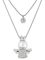 Femme Pendentif de collier Ailes / Plume Strass Imitation de diamant Alliage Mode Couche double Argent Bijoux Pour Soirée Quotidien 1pc