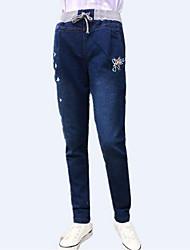 Da donna Dritto Jeans Pantaloni-Divertente Casual Con stampe A vita alta A cordoncino Cotone Elastico All Seasons