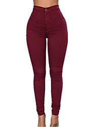 cheap -Women's Skinny Jeans Pants - Solid High Rise