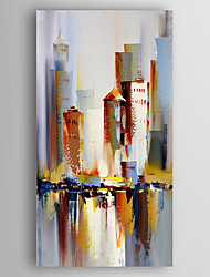 Hand-Painted  Abstract Building Canvas Oil Painting With Stretcher For Home Decoration Ready to Hang