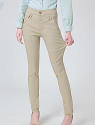 economico -Da donna Media elasticità magro Jeans Pantaloni,Tinta unita Rayon Nylon Elastene Primavera