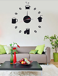 Fashion Art Acrylic Style Coffee / Tea DIY Wall Clocks 360 For Wall Decoration