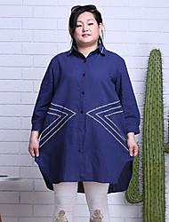 baratos -Feminino Camisa Social Casual Trabalho Tamanhos Grandes Simples Moda de Rua Temática Asiática Todas as Estações,Xadrez Azul Algodão