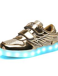 Girls' Athletic Shoes Spring Fall Cowhide Casual Flat Heel Gold Silver Blushing Pink Walking