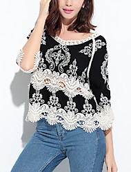 Women's Embroidery|Flare Sleeve Going out Holiday Vintage Street chic Spring Fall T-shirtPatchwork Lace Hollow Out All Match Round Neck Sleeve Medium