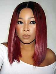 cheap -Hot Selling Peruvian Hair Short Full Lace Bob Wig Straight Hair Dark Red Color Human Virgin Hair Bob Lace Wig