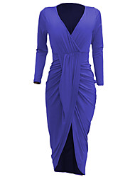 Women's Party Club Casual Sexy Bodycon Dress,Solid Deep V Maxi Long Sleeves Polyester Spring Fall Mid Rise Micro-elastic Medium