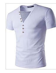 abordables -Hombre Deportes Algodón Camiseta, Escote en Pico Un Color