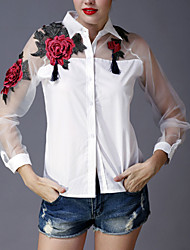 cheap -Women's Going out Sophisticated Spring Summer Shirt,Embroidered Shirt Collar Long Sleeves Polyester Thin