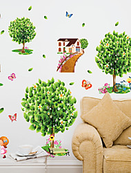 Green Family Big Tree With Butterfly Wall Stickers DIY Living Room Wall Decals