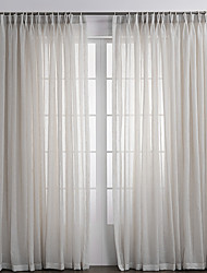 Two Panels Curtain Country , Solid Bedroom Linen/Polyester Blend Material Sheer Curtains Shades Home Decoration For Window