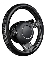 cheap -AUTOYOUTH PU Leather Steering Wheel Cover Black Lychee Pattern with Anti-slip Braiding Style M Size fits 38cm/15 Diameter