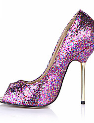 Women's Heels Spring Summer Comfort Leatherette Wedding Party & Evening Dress Stiletto Heel Sequin Black Blue Purple Silver Gold Orange