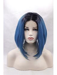 Femme Perruque Lace Front Synthétique Droite Bleu Raie Centrale Ligne de Cheveux Naturelle Coupe Carré Perruque Naturelle Perruque
