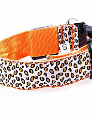 cheap -Dog Collar LED Lights Leopard Nylon Orange Yellow Red Blue