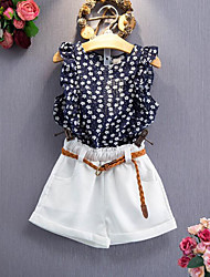 cheap -Girls' Daily Floral Clothing Set, Rayon Summer Sleeveless Floral Navy Blue
