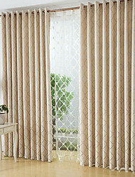 cheap -Rod Pocket Grommet Top Tab Top Double Pleat Pencil Pleat Two Panels Curtain Modern, Jacquard Geometic Bedroom Poly / Cotton Blend Material