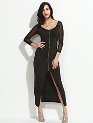 Χαμηλού Κόστους Όλα κάτω από $ 20-Γυναικεία Εφαρμοστό Φόρεμα - Μονόχρωμο, Δαντέλα Σκίσιμο Στάμπα