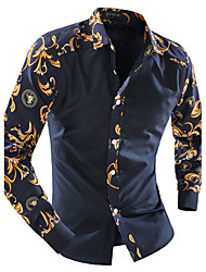 cheap -Men's Daily Casual Spring Fall Shirt Classic Collar Long Sleeves Cotton Polyester