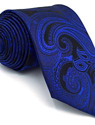 BXL7 Men's Necktie Tie Blue Paisley 100% Silk Business Fashion Wedding For Men