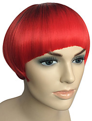 Women Wig Short Bob Light Red Synthetic Wig Kinky Straight Fiber With Cap Costume Cosplay Wigs