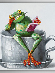 Hand-Painted a Frog Reading Book Seating on Cup  by Knife  Canvas Oil Painting Without  Stretcher For Home Decoration