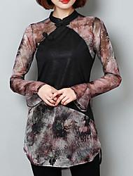 baratos -Mulheres Tamanhos Grandes Camisa Social Temática Asiática Moda de Rua Sólido Xadrez Gola Redonda