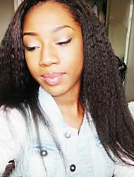 levne -Remy vlasy Se síťkou / Celokrajkové Paruka Volný / Rovné, bláznivé 130% Hustota Přírodní vlasová linie / Afroamerická paruka / 100% ručně vázaná Dámské Krátký / Střední / Dlouhý Paruky z přírodních