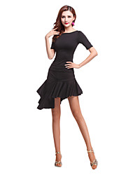 cheap -Latin Dance Outfits Women's Performance Spandex Ruffles Short Sleeve Natural Top Skirt