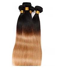 Недорогие -Бразильские волосы Прямой 8A Натуральные волосы Омбре Ткет человеческих волос Расширения человеческих волос / Прямой силуэт