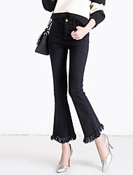 Femme Franges/Ample Grandes Tailles Boot Cut Jeans Pantalon,Street Chic Décontracté/Quotidien Couleur Pleine Franges Taille Normale Bouton Coton