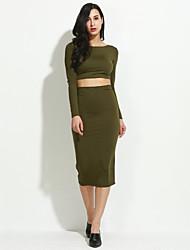 abordables -Mujer Camiseta - Un Color, Espalda al Aire Falda