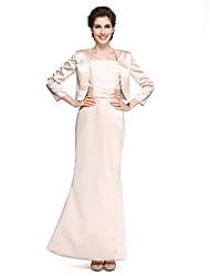 abordables -Trompette / Sirène Col Carré Longueur Cheville Satin Robe de Mère de Mariée  avec Dentelle / Ruché par LAN TING BRIDE®