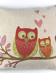 cheap -RayLineDo® Linen Cotton Square Throw Pillow Cover Owl Lover Decorative Pillow Case CTJZ21-PC-ORL