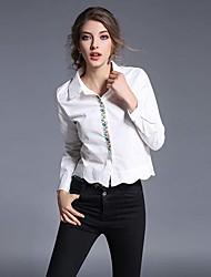 abordables -Mujer Trabajo Estampado - Algodón Camisa, Cuello Camisero