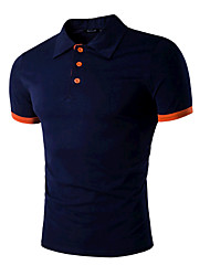 cheap -Men's Sports Active Cotton Slim Polo - Solid Colored Black & Red Shirt Collar